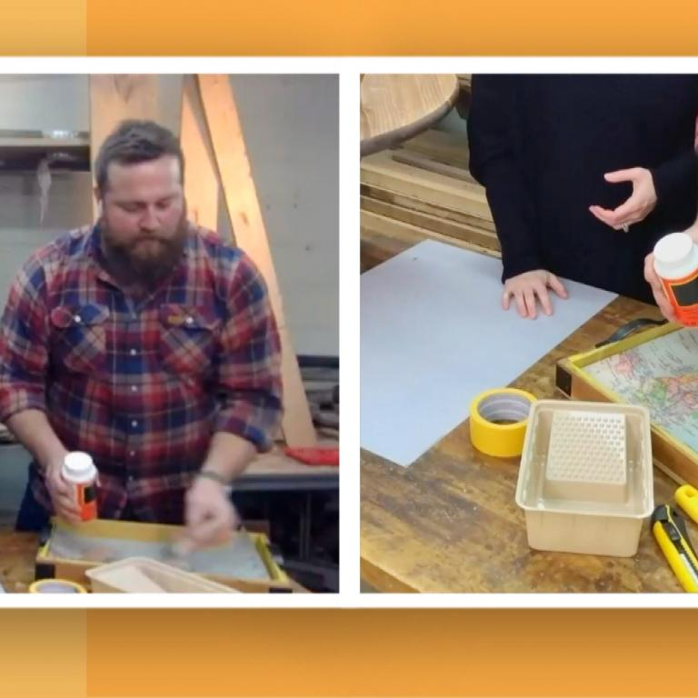 "Erin & Ben Napier from HGTV's ""Home Town"" show you how to make a map serving tray."