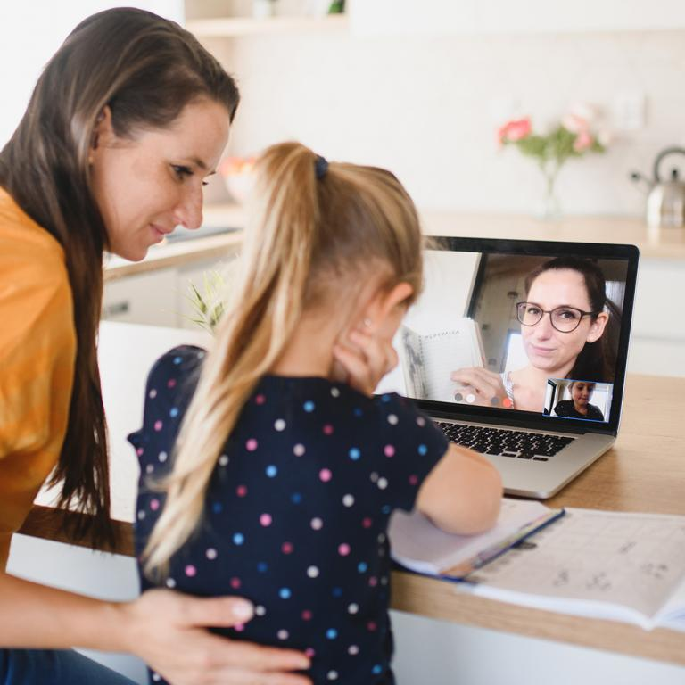 parent and child remote learning at home