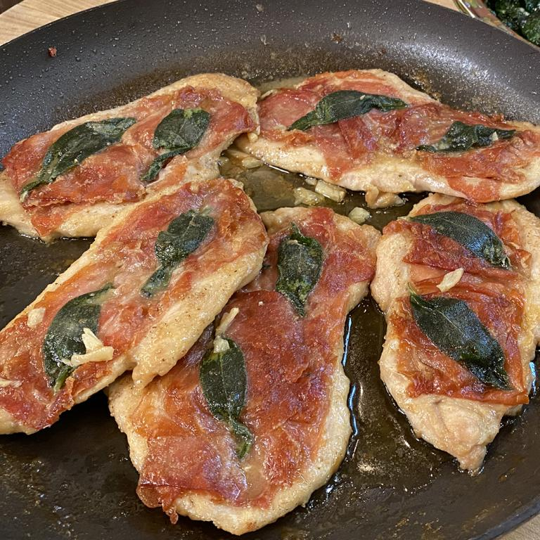 Chicken Saltimbocca with Wilted Garlic Spinach