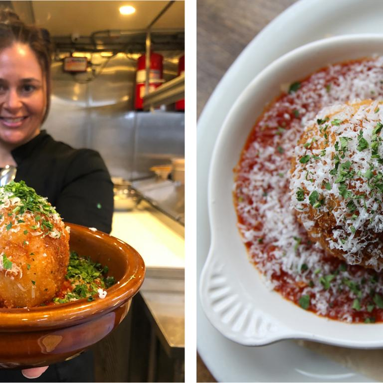 Antonia Lofaso and rice ball photos side by side
