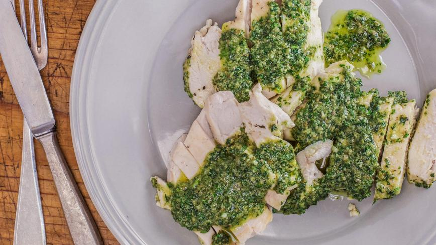 Milk Poached Chicken With Tarragon Salsa Verde