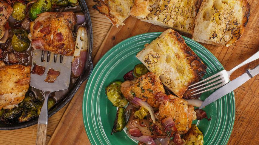 Rachael's cider chicken thighs with brussels sprouts