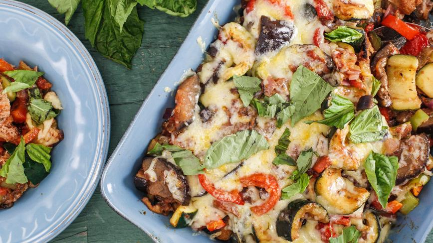 Ratatouille & Garlic Bread Casserole
