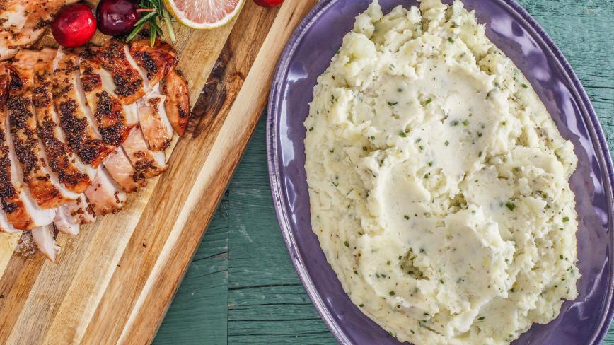 Lemon-Garlic Mashed Cauliflower or Potatoes