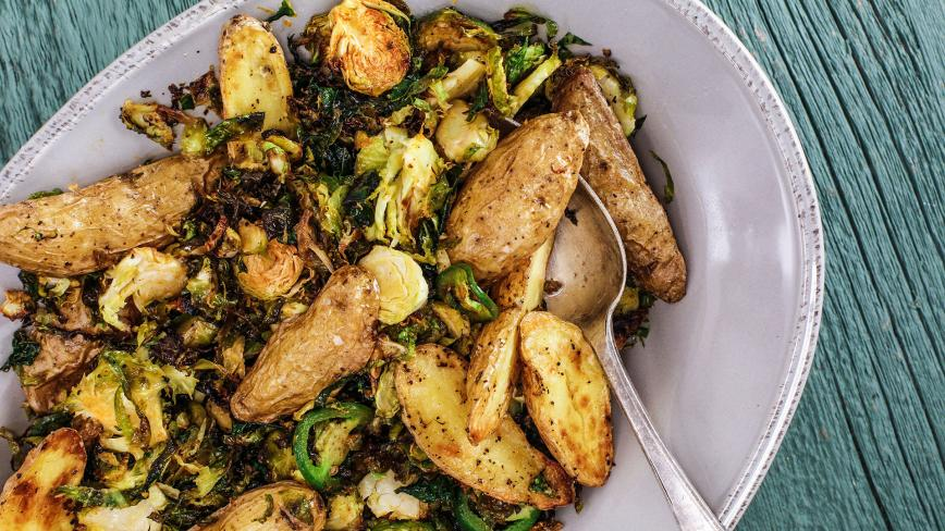 Spicy Roasted Potatoes & Brussels Sprouts