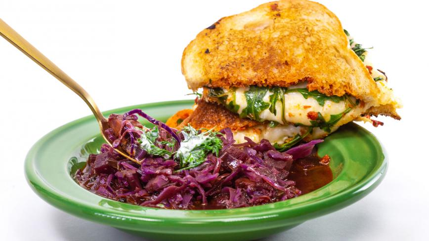 Rachael's Red Cabbage Soup and Grilled Cheese with Sundried Tomato Spread