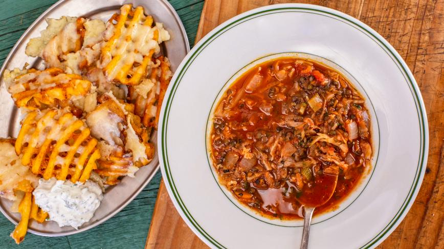 Lentil Cabbage Soup with Cheddar Waffle Fries