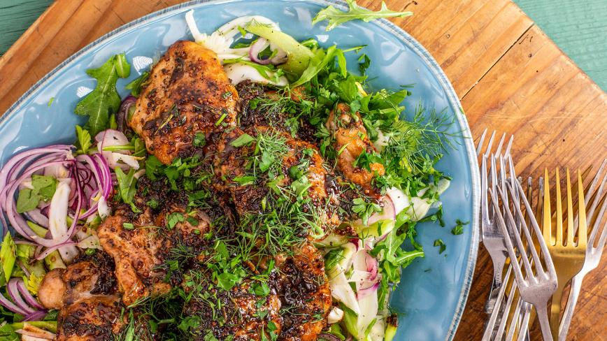 Rachael's Balsamic-Glazed Chicken with Fennel & Celery Slaw