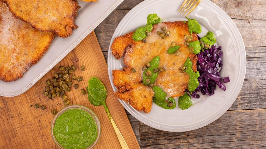 Rachael's Arthurs-Style Chicken Schnitzel with Whipped Honey & Green Hot Sauce + Braised Red Cabbage
