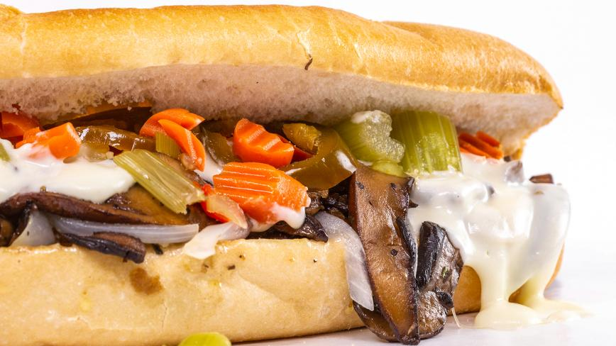 Portobello Mushroom, Pepper & Onion Philly Steaks