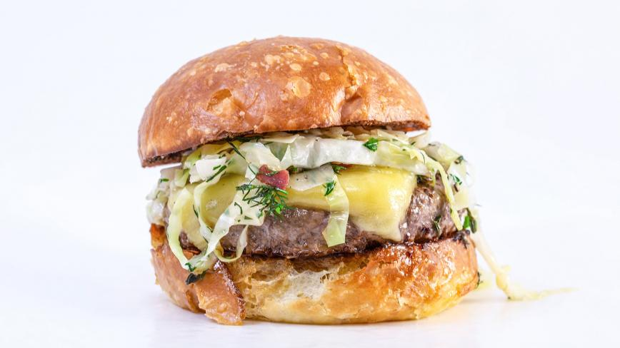 Rachael's Irish Burgers with Cheddar and Warm Bacon Slaw