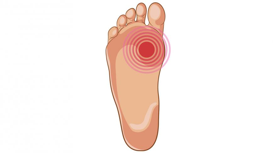 Illustration of foot with red spot