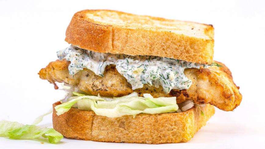 Rachael's Egg-Battered Fishwich on Toast with Yogurt Tartar Sauce