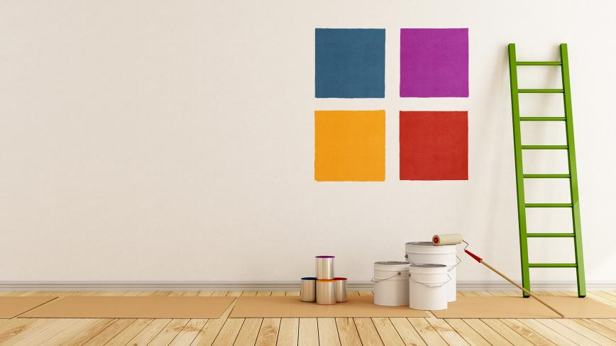 large paint swatches on wall