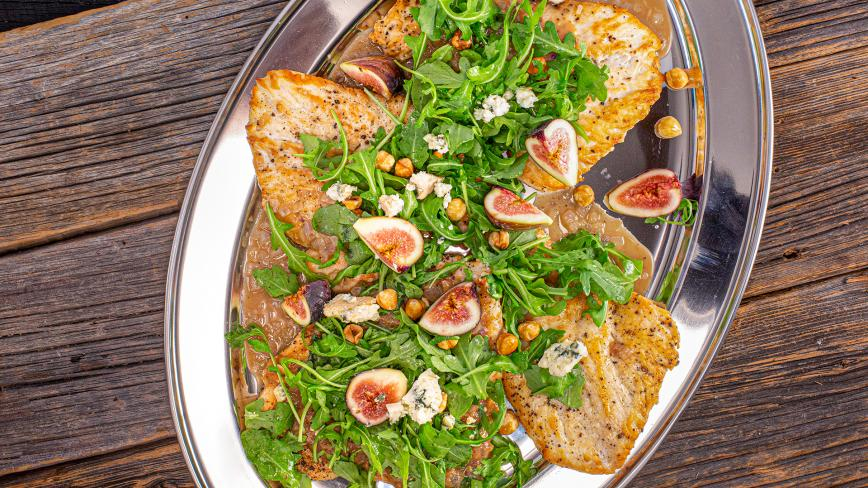 Chicken Paillard with Apple Butter Sauce, Figs and Arugula