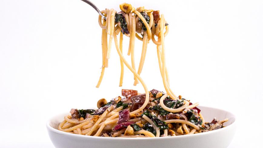 Red Chard and Ricotta Spaghetti with Bacon
