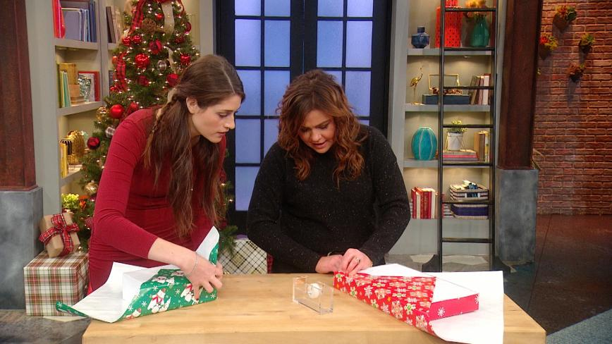 Kallie Branciforte and Rachael Ray wrapping Christmas presents
