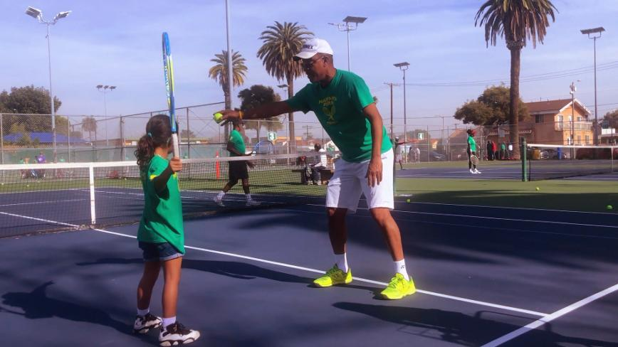 Marty Woods teaching tennis