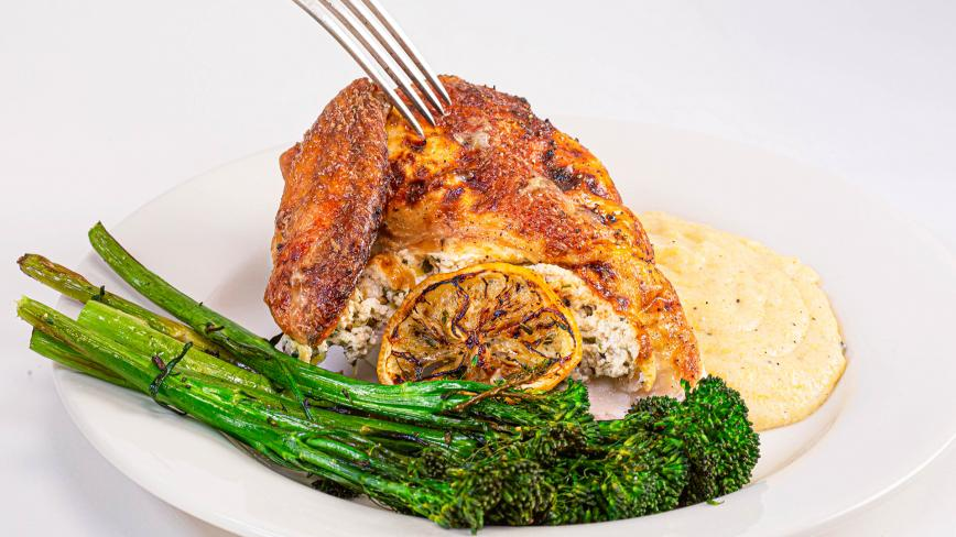 Lemon, Pepper, Garlic Cheesy Stuffed Chicken Dinner With Broccolini & Polenta