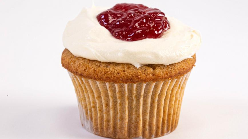 Raspberry Jam Cupcakes with Cream Cheese Frosting