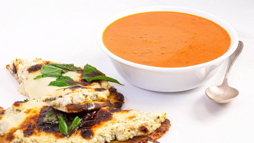 Rachael Ray's Roasted Garlic White Flatbread Pizza and Calabrian-Style Tomato Soup