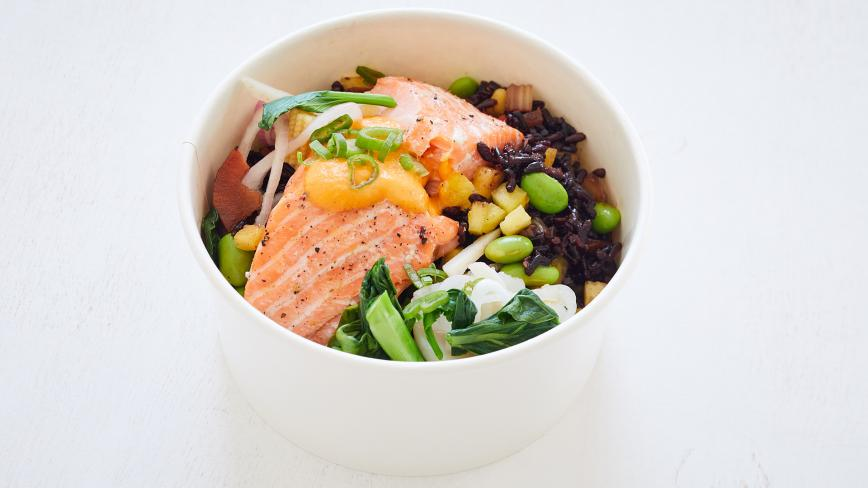 Pineapple Black Fried Rice With Grilled Salmon
