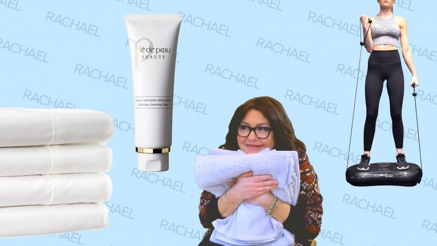 Rue La La featured products and Rachael Ray on blue background