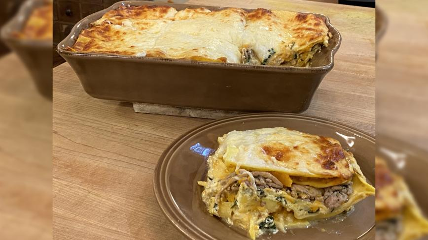 Thanksgiving Lasagna With Turkey, Squash or Pumpkin + Cranberries