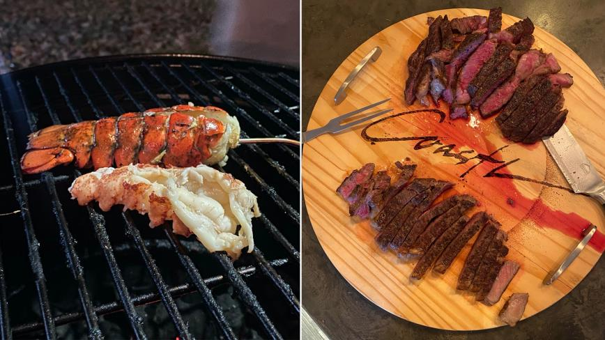 grilled lobster tails and steak photos side by side