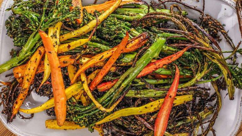 Roasted Broccolini and Baby Carrots
