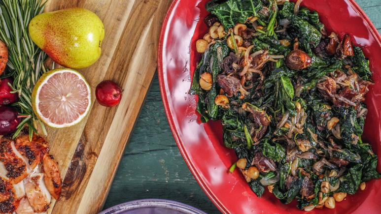Sautéed Kale or Spinach with Dates and Nuts