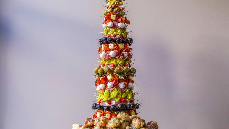 Antipasto Tree with Garlic Knots
