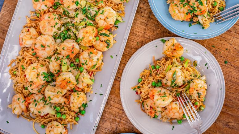 Rachael's Spanish Shrimp Scampi & Pimento Rice with Peas
