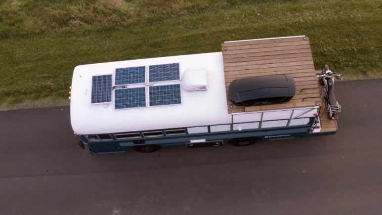 school bus tiny home top view