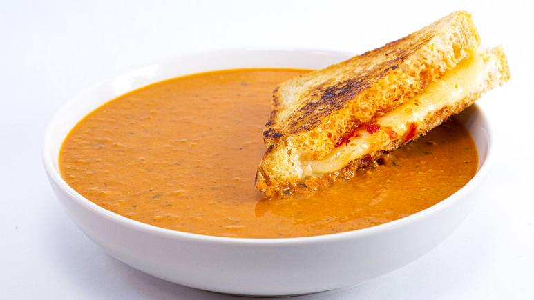 Italian Hot Honey Grilled Cheese and Roasted Cherry Tomato Soup