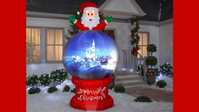 8.5 ft. Pre-lit Living Projection Santa on Globe Airblown Scene