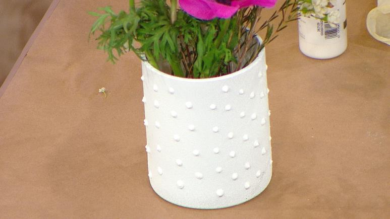 milk glass vase with dots