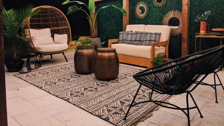 back porch with boho furniture