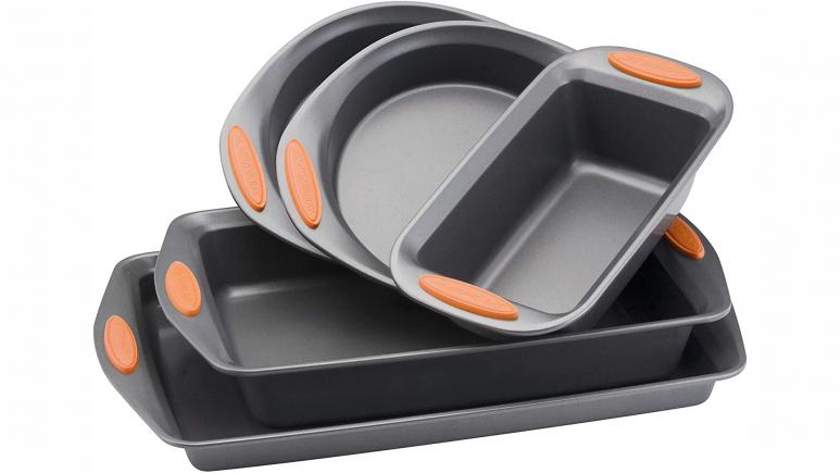 rachael ray bakeware set with orange grips
