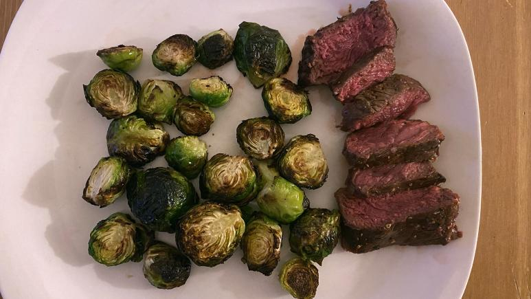 Grilled steak and air fried Brussels sprouts