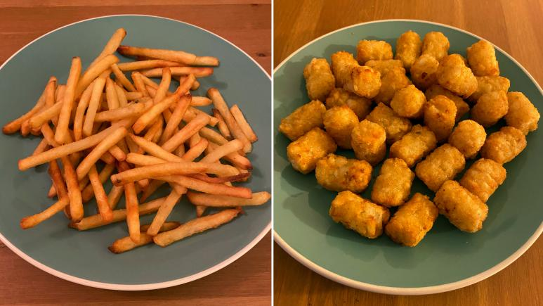 Air fried French fries and tater tots