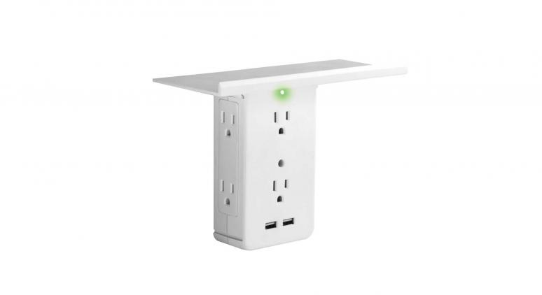 Sharper Image Socket Shelf 8 Port Surge Protector Wall Outlet
