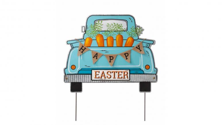 Easter Metal Truck Yard Stake or Wall Decor or Standing Decor