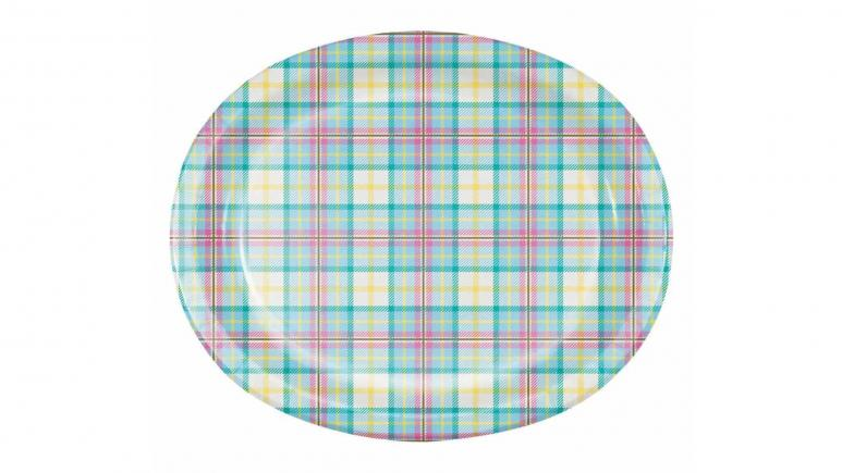 Easter Plaid Oval Plates