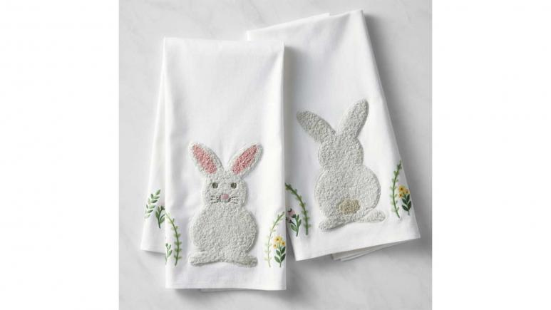 Embroidered Bunny Towels, Set of 2