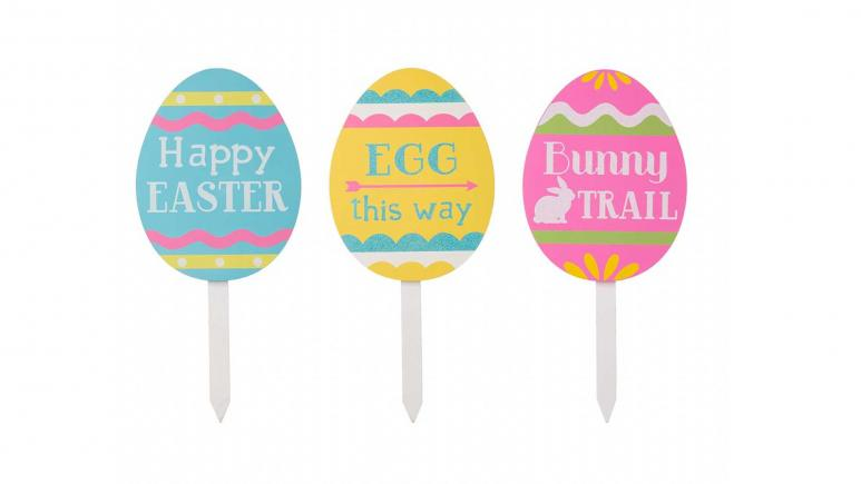 Wooden Easter Egg Yard Stake (Set of 3) by Glitzhome