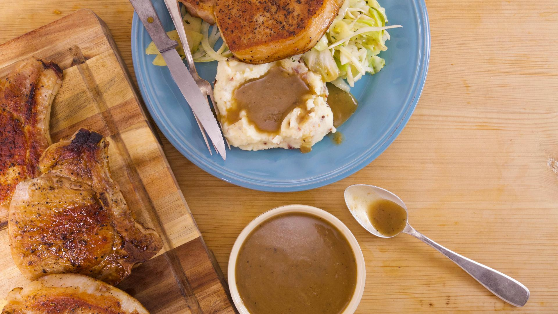 Rachael S Pork Chops With Cabbage Apple And Fennel And Mashed