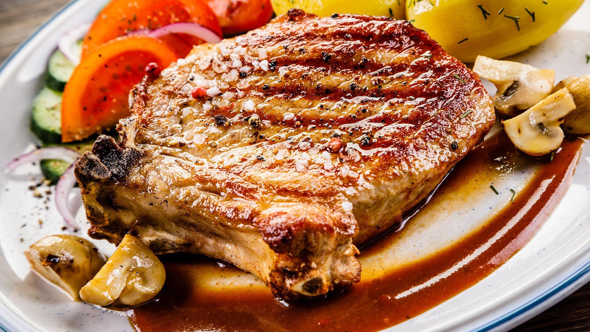 Curtis Stone S Pork Chops With Cider Dijon Pan Sauce And Roast