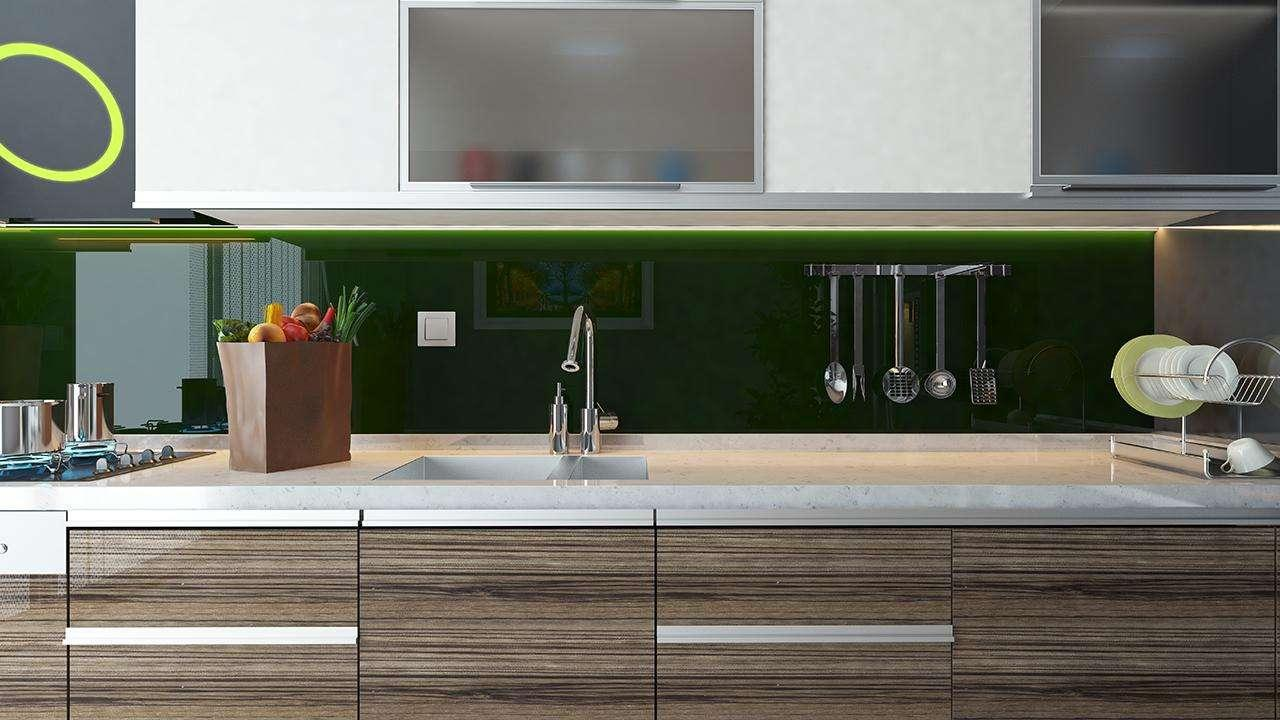 How to Install a Modern Glass Backsplash (with just spray