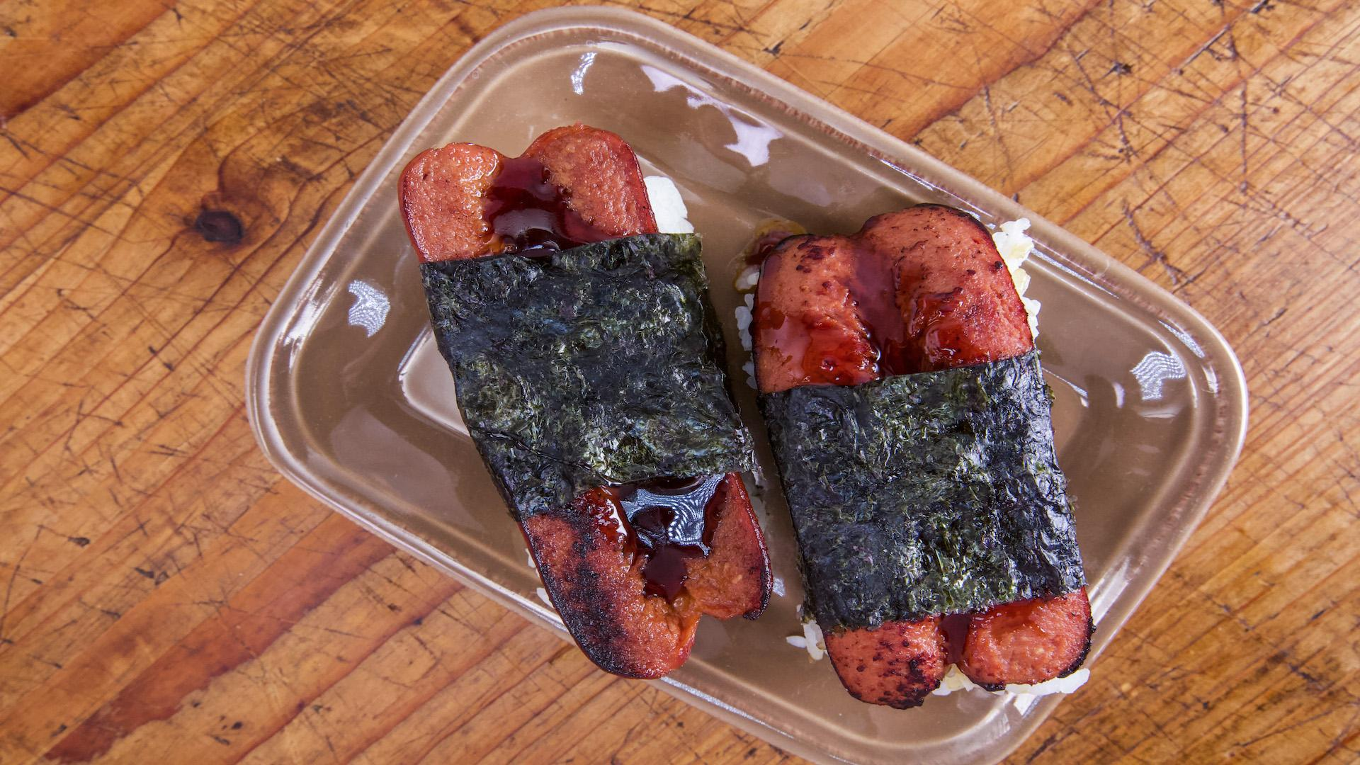Richard Blais Hot Dog Musubi Rachael Ray Show